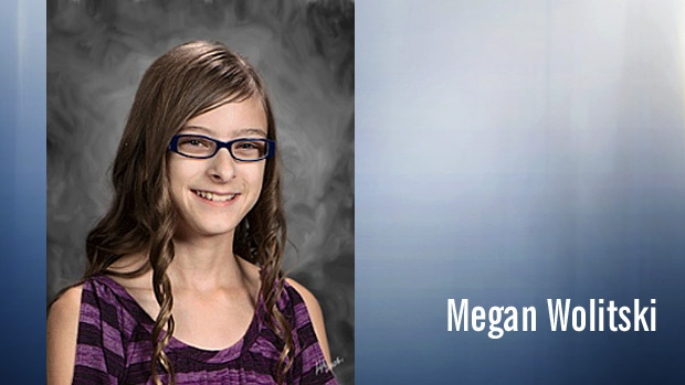 Megan Wolitski, 11, died of her injuries in hospital, after being pinned under a minivan that crashed into her Grade 6 classroom. PHOTO SUPPLIED.
