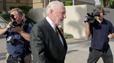 Peter Pocklington, former owner of the Edmonton Oilers NHL hockey team, leaves U.S. District Court after a sentencing hearing on perjury charges, in Riverside, Calif., Thursday, Oct. 14, 2010. (AP / Reed Saxon)
