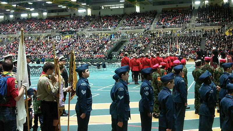 Edmontonians took part in a Remembrance Day ceremony at the Butterdome on Sunday, Nov. 11.