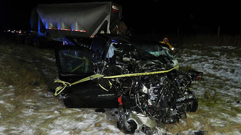 A three-vehicle collision on Highway 63 north of Boyle, Alta., sent one person to hospital in critical but stable condition Wednesday morning. SUPPLIED.