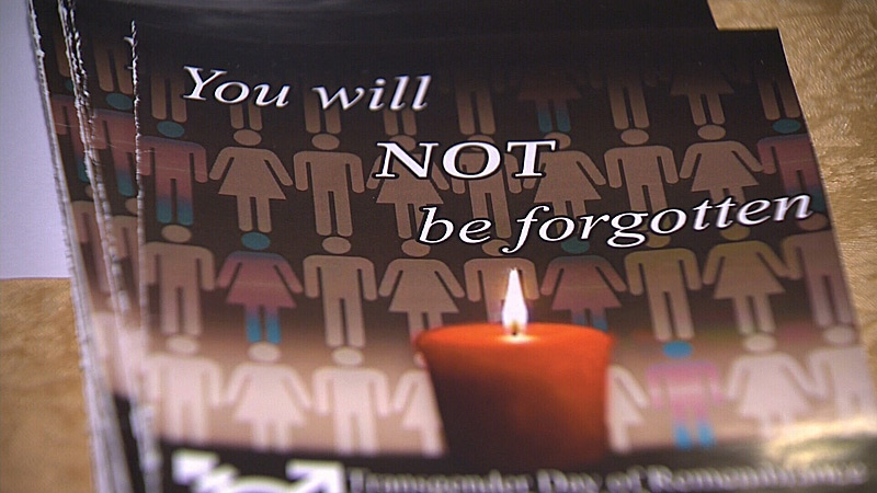 Edmontonians took part in a memorial on Saturday to honour people killed last year due to transphobic violence.
