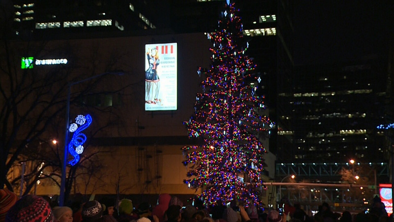 The 22-metre white spruce Christmas tree in Churchill Square officially became illuminated Saturday night.
