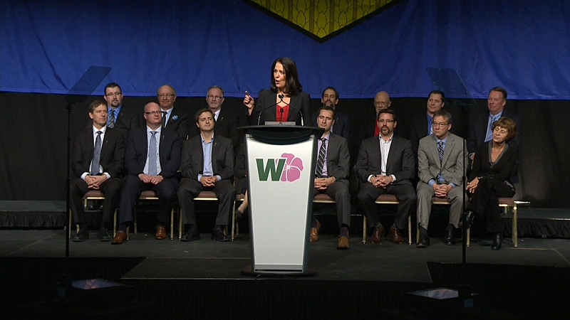Danielle Smith speaks to supporters at the Wildrose party's annual general meeting on Nov. 24, 2012.