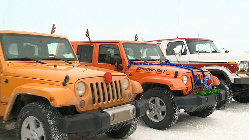 A number of jeeps and other 4x4 vehicles were part of the Northern Alberta 4 Wheel Drive Association's annual toy run for Santas Anonymous on Sunday.