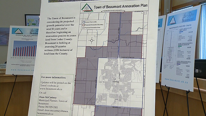 The Town of Beaumont has put forward an annexation proposal to the County of Leduc. It wants to annex 24 quarters or 1,536 hectares, of land from the county to address a shortage of space.