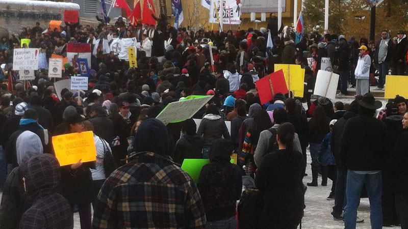 Hundreds of Edmonton's First Nations, Metis and supporters gathered downtown on Monday in an Idle No More rally in opposition of the federal government's contentious omnibus budget bill.