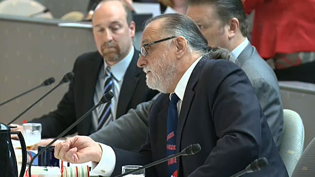 John Karvellas, senior executive with the Katz Group, addresses council on Dec. 12, 2012.