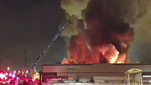 A MyNews contributor captured this image taken from video of a fire in Edmonton on Tuesday, Dec. 25, 2012. (Alicia Pope / MyNews.CTV.ca)