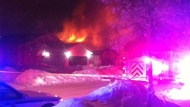 A fire that started in a garage spread to a house in St. Albert on Boxing Day. Photo Courtesy: @Cassandranav