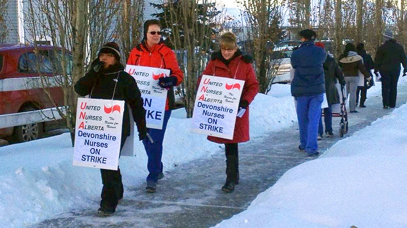 More than a dozen registered nurses took to the picket line outside the Devonshire Care Centre on Rabbit Hill Road at about 3 p.m. Monday, Dec. 31.