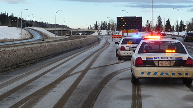 Traffic is being rerouted on Highway 63 in Fort McMurray after a hit and run damaged an overpass. 