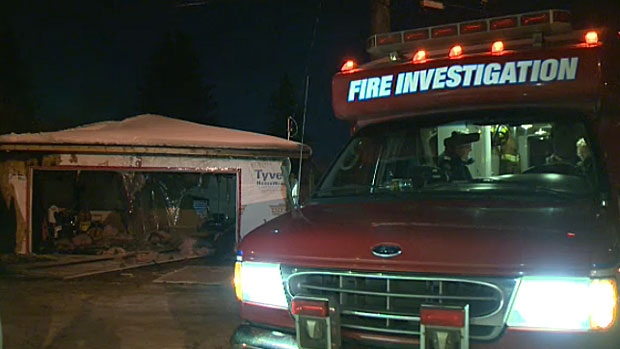 A fire gutted the inside of a garage in the area of 79 Street and 98 Avenue early Thursday morning.