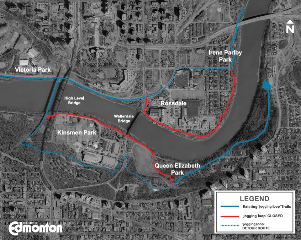 A City of Edmonton map outlines multi-use trails affected by the construction of the new Walterdale Bridge, the closures are expected to remain in effect until late 2015. Supplied.