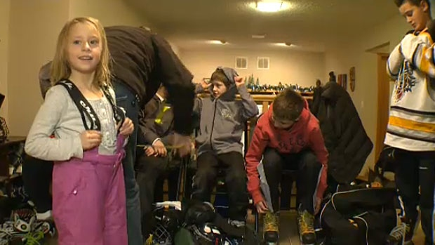 The Steele's kids and their friends often take to the ice and use the family's home as their change room.