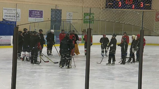 The group of Edmontonians hit the ice for the first time Monday night, as part of a beginner's hockey program for adults.