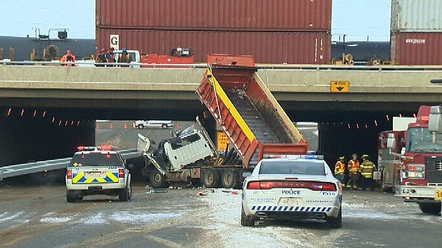 Crash, Yellowhead, dump truck, Sunday