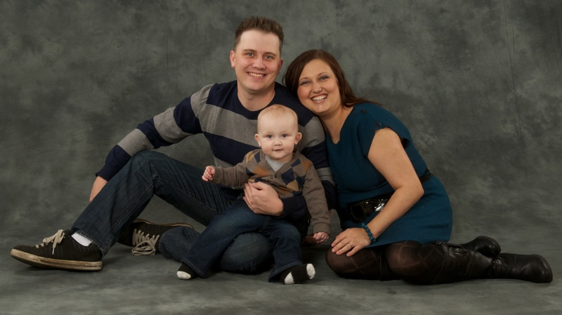 Jeffrey, Celeste and Kade Fleming are shown in an undated family portrait. Supplied.