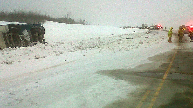 Boyle RCMP on the scene of a fatal crash on Hwy 63 Monday, January 21 - police said a northbound pickup truck lost control and collided with a southbound semi-truck. Supplied.