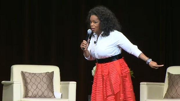 Oprah Winfrey speaks at Rexall Place on Monday, Jan. 21, 2013.