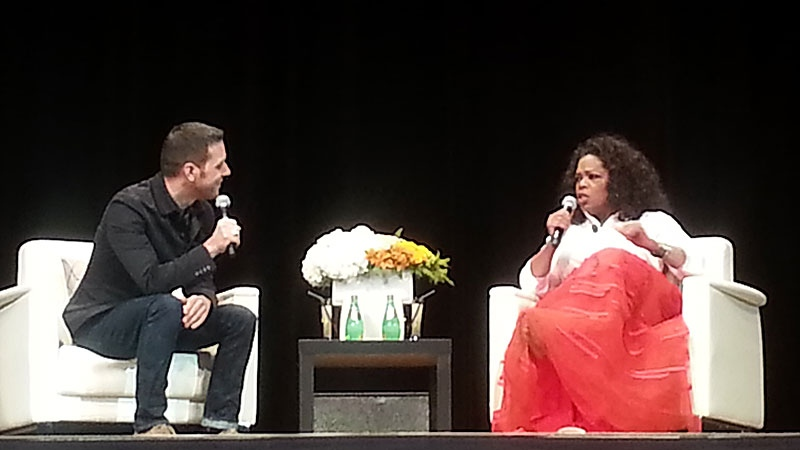 TV personality George Stroumboulopoulos interviews Oprah Winfrey during her show 'An Evening with Oprah Winfrey' at Rexall Place on Monday, Jan. 21, 2013.