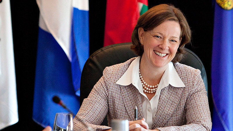 Alberta Premier Alison Redford takes part in the Western Premiers Conference in Edmonton Tuesday, May 29, 2012. THE CANADIAN PRESS/Jason Franson