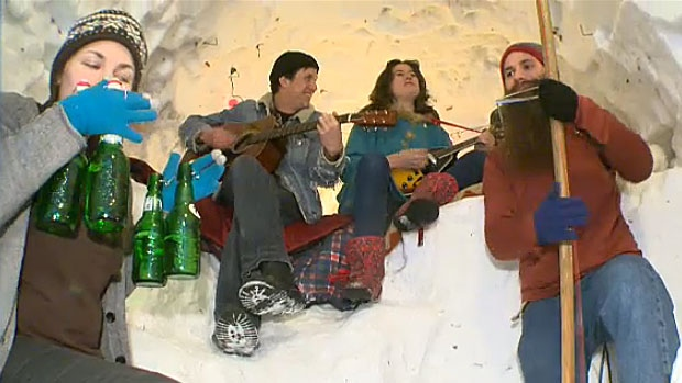 Sean Hillaby and his band members perform in the snow fort he built. Hillaby calls the fort his 'snow nest' and says it's a labour of love.