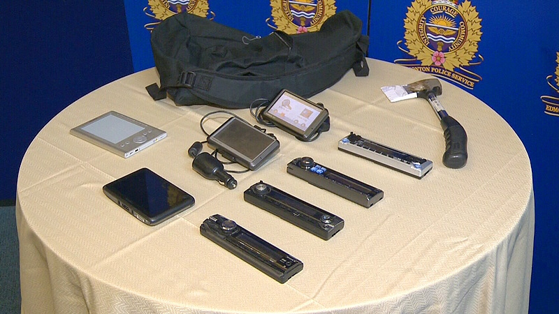 Edmonton police display a number of items believed to have been stolen from vehicles in a rash of thefts in the Calder neighbourhood between Jan. 1 and 18, 2013.
