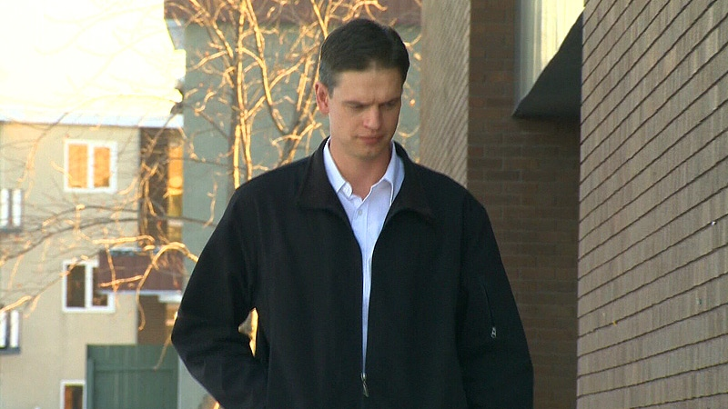 Justin Frank outside of Leduc Provincial Court on Monday, Feb. 4.