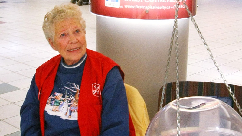 Agnes Morgan tends the Salvation Army Kettle at Westmount Mall in Edmonton, Alberta. December 10, 2010. (Bruce Edwards/Edmonton Journal)