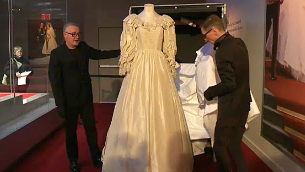 Princess Diana's famous wedding dress was taken out of its crate at West Edmonton Mall on Wednesday. The dress will be a main feature of a new exhibit - Diana: A Celebration - which opens at the mall on Saturday.