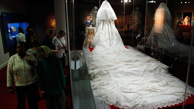 Princess Diana's wedding dress and train is shown during a preview of the exhibition Diana: A Celebration at the National Constitution Center in Philadelphia, Thursday, Oct. 1, 2009. The exhibit opens in Edmonton on Feb. 9 and the dress was taken out of its crate on Wednesday. (AP Photo/Matt Rourke)