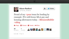 ALison Redford Tweet Feb. 7