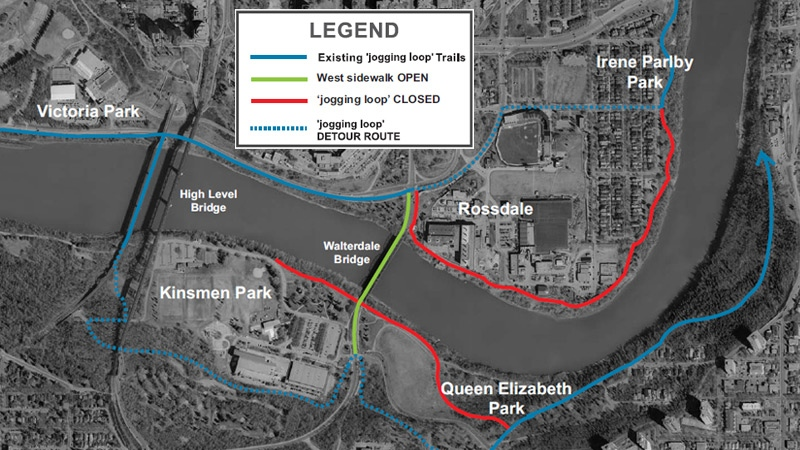 The city released a map Thursday, outlining which paths would be closed or affected during the 3-year construction of the new Walterdale Bridge. Supplied.