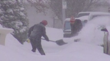 snow, storm, winter, shovelling