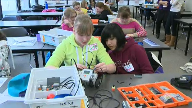 The 'Choices' event is put on annually by the University of Alberta's Women in Scholarship Engineering Science and Technology program. It brings together hundreds of Grade 6 girls for hands-on learning in an effort to engage young girls for potential careers in those fields.