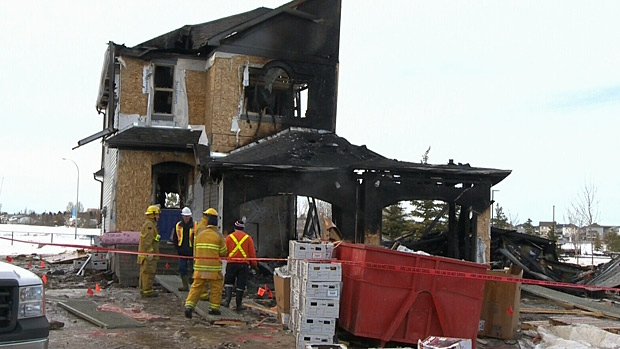 Two sub-contractors were able to escape the blaze after a house in Spruce Grove exploded Saturday night.
