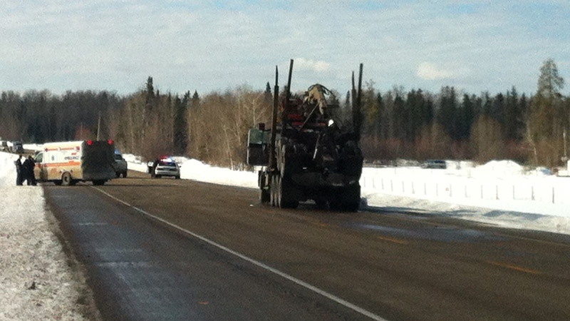 Police blocked off a section of Hwy 32 near Whitecourt, after an Alberta sheriff was shot in the Whitecourt Law Courts Tuesday, Feb. 26. Credit: Lynden McBeth.