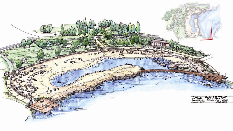 A sketch shows a possible design and location for a proposed beach and play area in Hawrelak Park. Supplied.