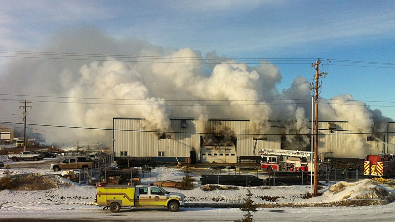 An industrial fire broke out in Leduc Thursday afternoon. Photo: Bryce Fulton
