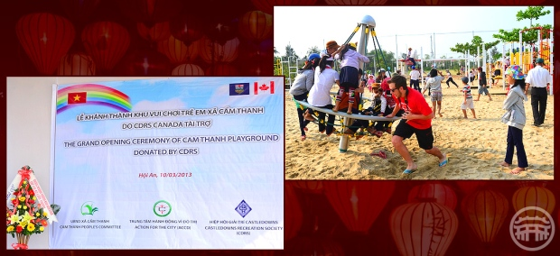 The Castle Downs team attends the official opening of the 'Canadian Playground' they assembled in Hoi An, Vietnam.