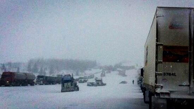 Vehicles were strewn along the QE2 for several kilometres due to a multi-vehicle crash on the highway Thursday, March 21, 2013. Courtesy: Jeff Adams.