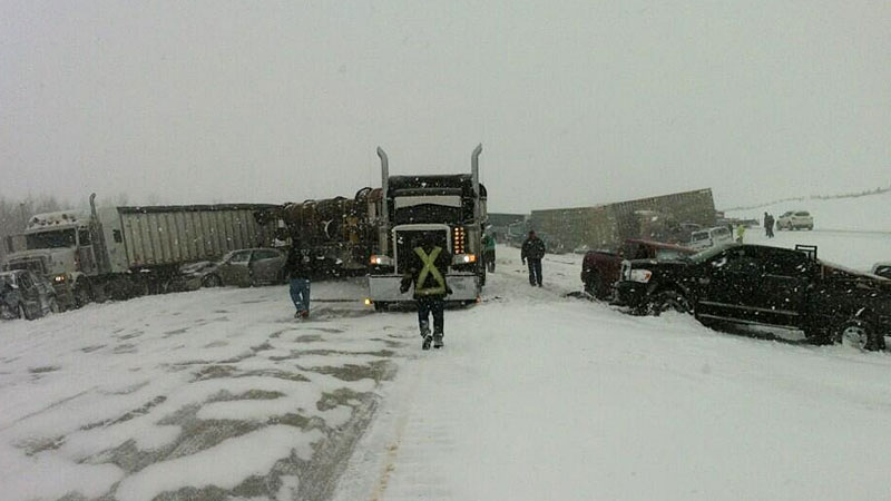 A number of semi trucks were involved in the crash on the QE2 Highway south of Leduc on Thursday, March 21, 2013. Courtesy: Derek Fildebrandt