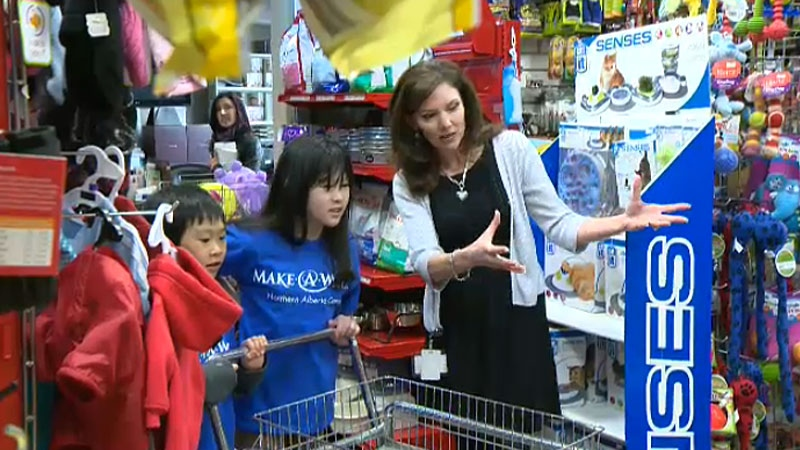 As part of her Make-a-Wish Foundation wish, 12-year-old Sidney got a chance to go on a $4,000 shopping spree for animal care supplies to help those living long-term at the Edmonton Humane Society.