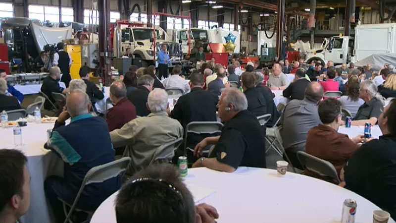 It was a big party at Diamond International Trucks Friday, as current and former employees came together to celebrate the 50th anniversary surprise party for 72-year-old Marshal Topilko.