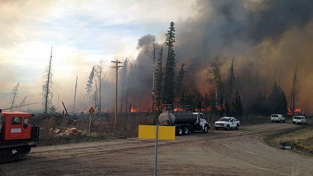 Residents in Nordegg have been evacuated as crews battle a wildfire in the area. Photo courtesy of Clearwater Regional Fire Rescue Services.