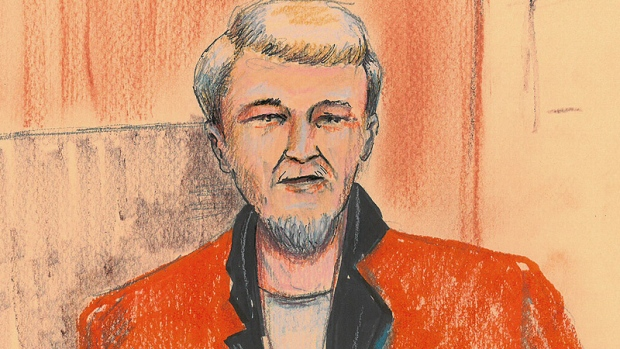 Richard Suter, 62, is shown in a court sketch, during his brief court appearance via CCTV on Tuesday, May 21.
