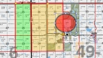A map, released by Brazeau County, shows the area affected by an evacuation notice east of Lindale, Alta. Wednesday, May 22 - the evacuation area is shown in yellow, the area under a one hour evacuation notice is highlighted in green. Supplied.