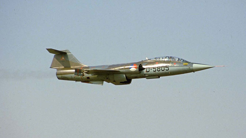The CF104 Starfighter on its last flight in 1984. SUPPLIED.