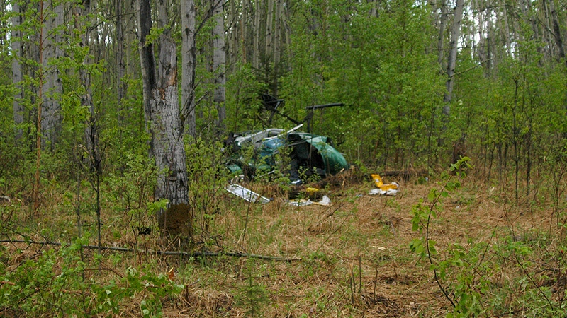 Wood Buffalo RCMP released this photo showing the site of a crash in a remote part of northern Alberta on Wednesday, May 29. Supplied.