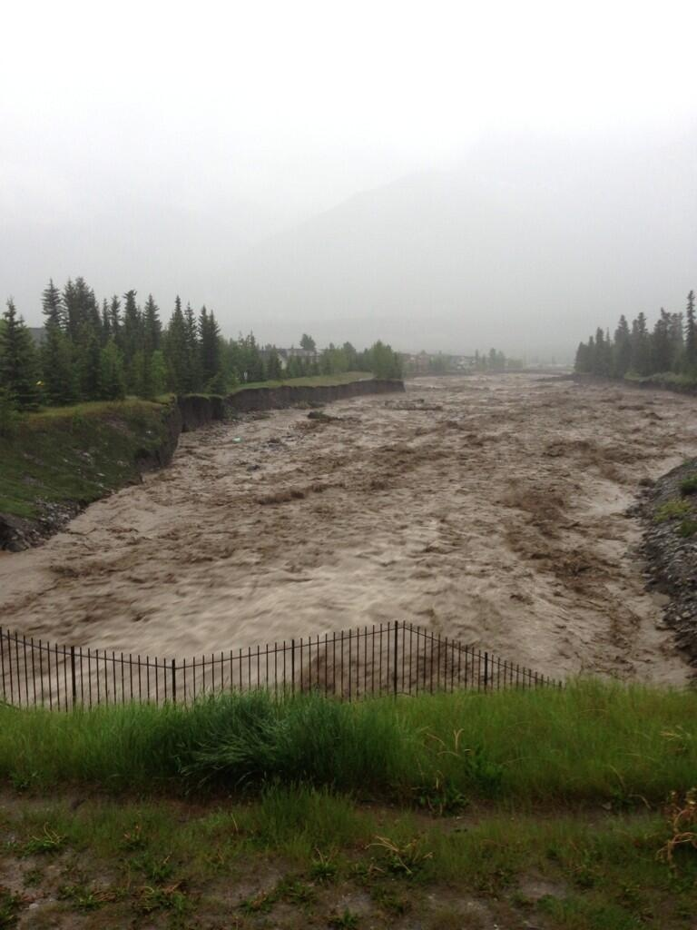 Heavy flooding is seen in Canmore, Alta., Thursday, June 20, 2013. (Wade Graham / Twitter)